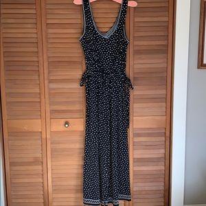 Max studio jumpsuit size L black polkadot